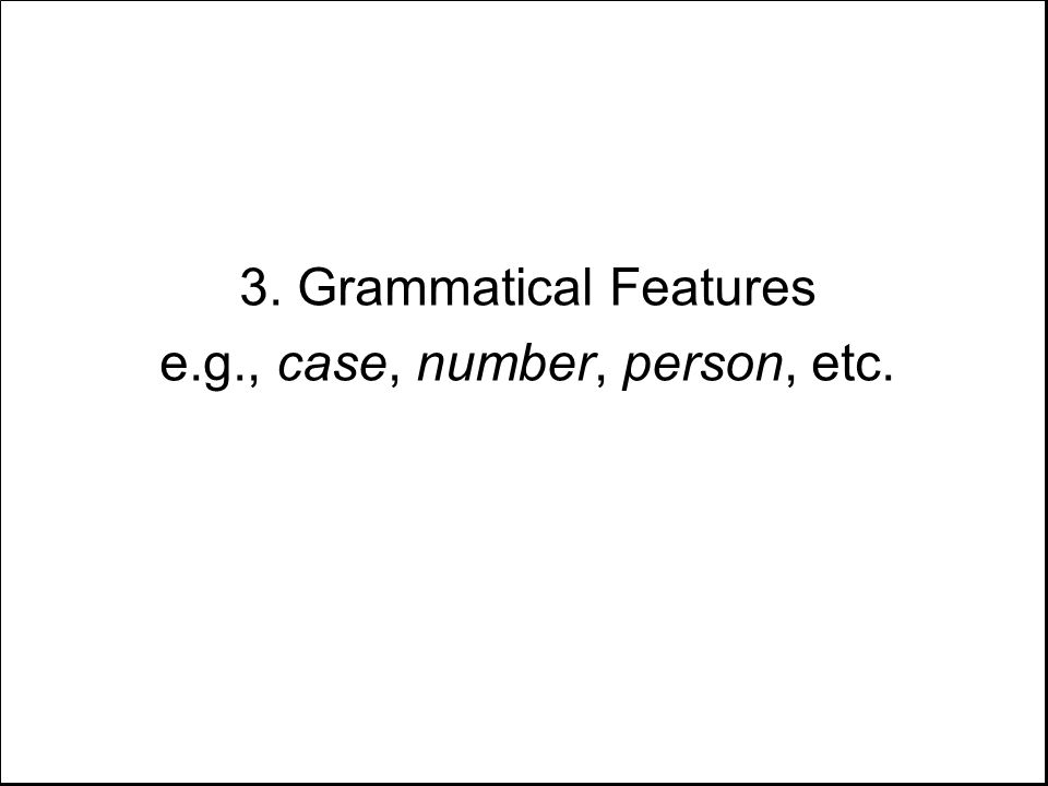 3. Grammatical Features e.g., case, number, person, etc.