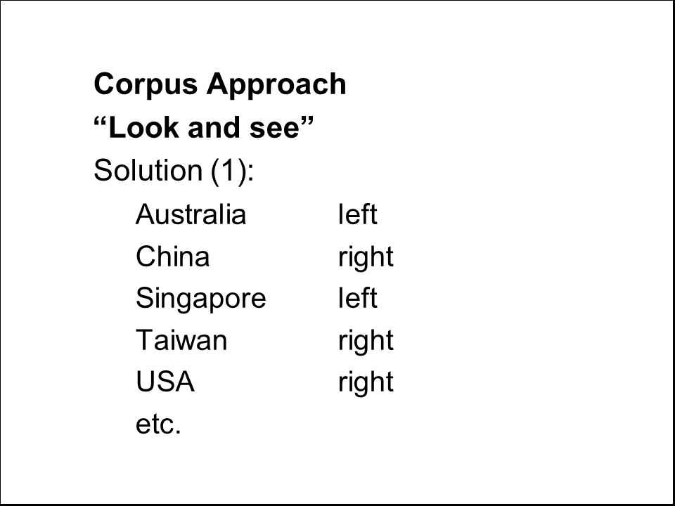 Corpus Approach Look and see Solution (1): Australialeft Chinaright Singaporeleft Taiwanright USAright etc.