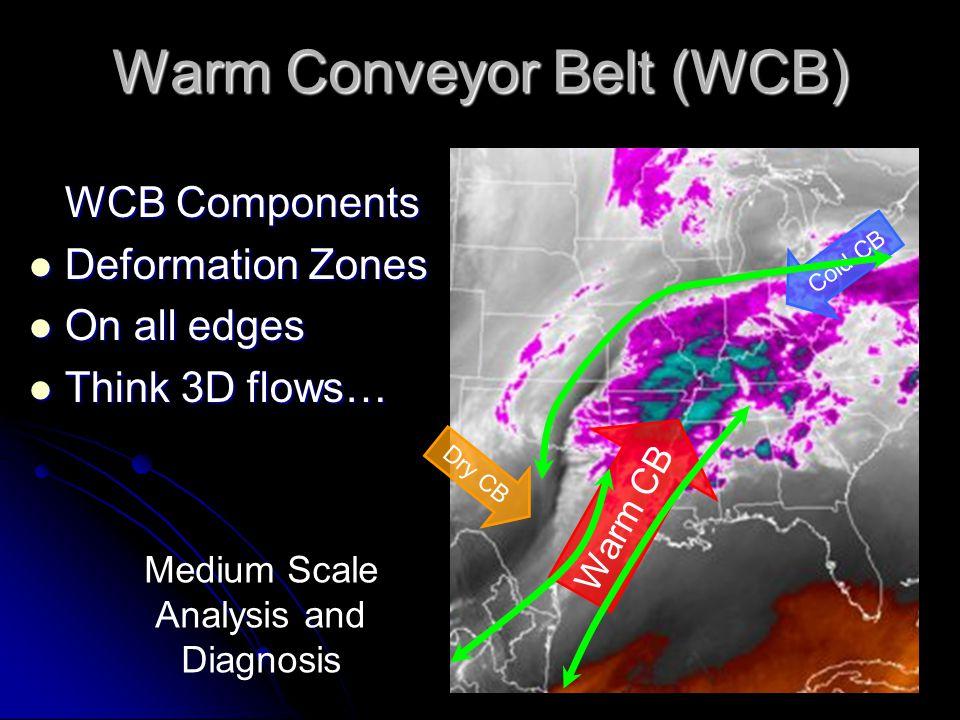 Warm Conveyor Belt (WCB) WCB Components WCB Components Deformation Zones Deformation Zones On all edges On all edges Think 3D flows… Think 3D flows… Cold CB Warm CB Dry CB Medium Scale Analysis and Diagnosis