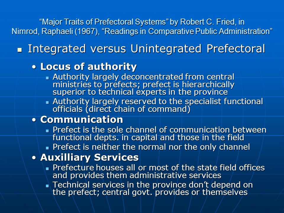 Major Traits of Prefectoral Systems by Robert C.