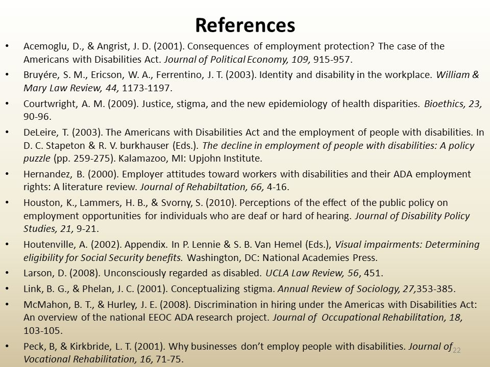 References Acemoglu, D., & Angrist, J.D. (2001). Consequences of employment protection.