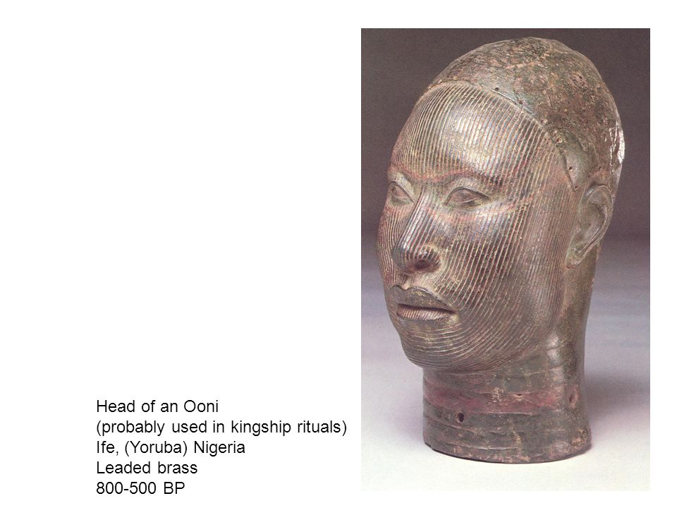 Head of an Ooni (probably used in kingship rituals) Ife, (Yoruba) Nigeria Leaded brass 800-500 BP