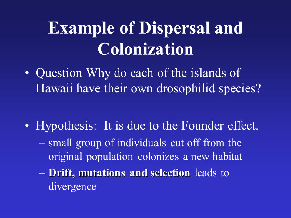 Example of Dispersal and Colonization Question Why do each of the islands of Hawaii have their own drosophilid species? Hypothesis: It is due to the F