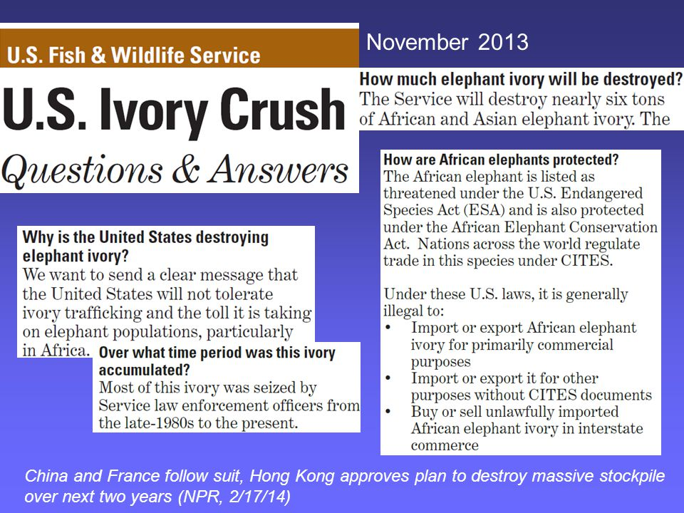 China and France follow suit, Hong Kong approves plan to destroy massive stockpile over next two years (NPR, 2/17/14)