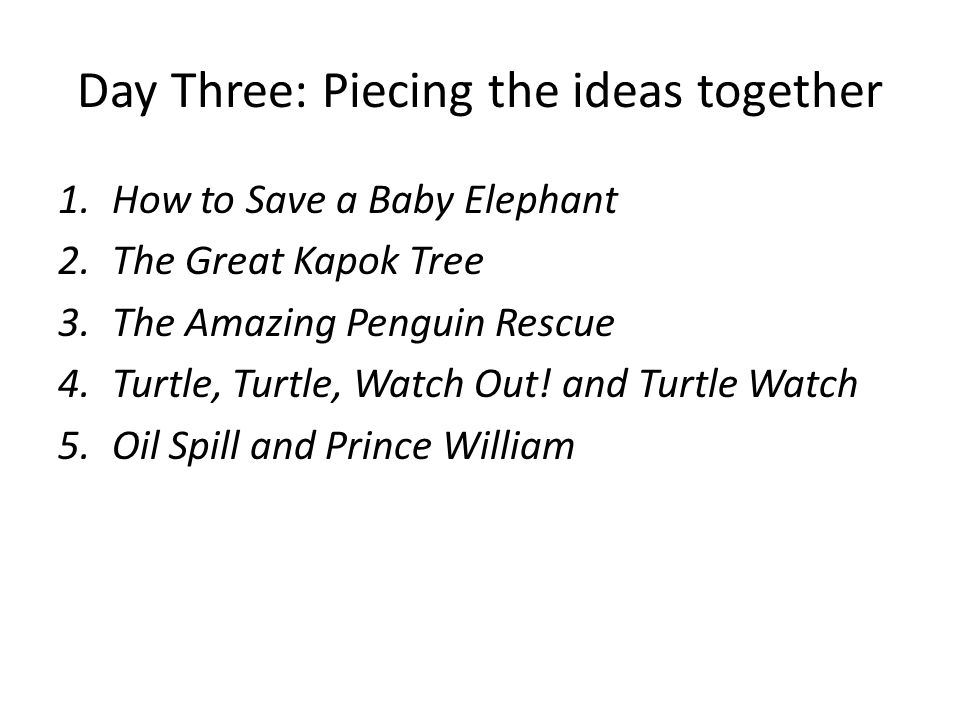 Day Three: Piecing the ideas together 1.How to Save a Baby Elephant 2.The Great Kapok Tree 3.The Amazing Penguin Rescue 4.Turtle, Turtle, Watch Out! a