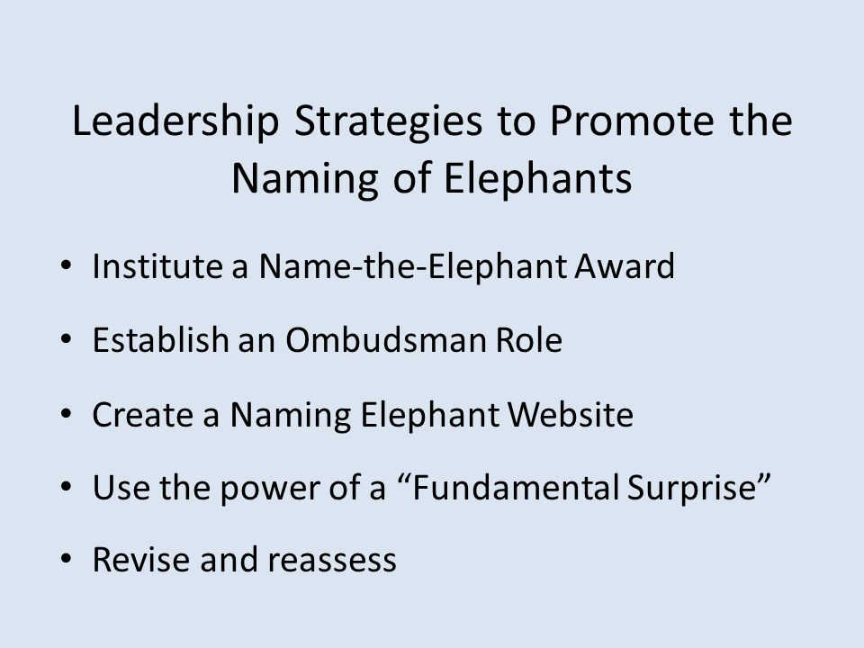 Leadership Strategies to Promote the Naming of Elephants Institute a Name-the-Elephant Award Establish an Ombudsman Role Create a Naming Elephant Webs