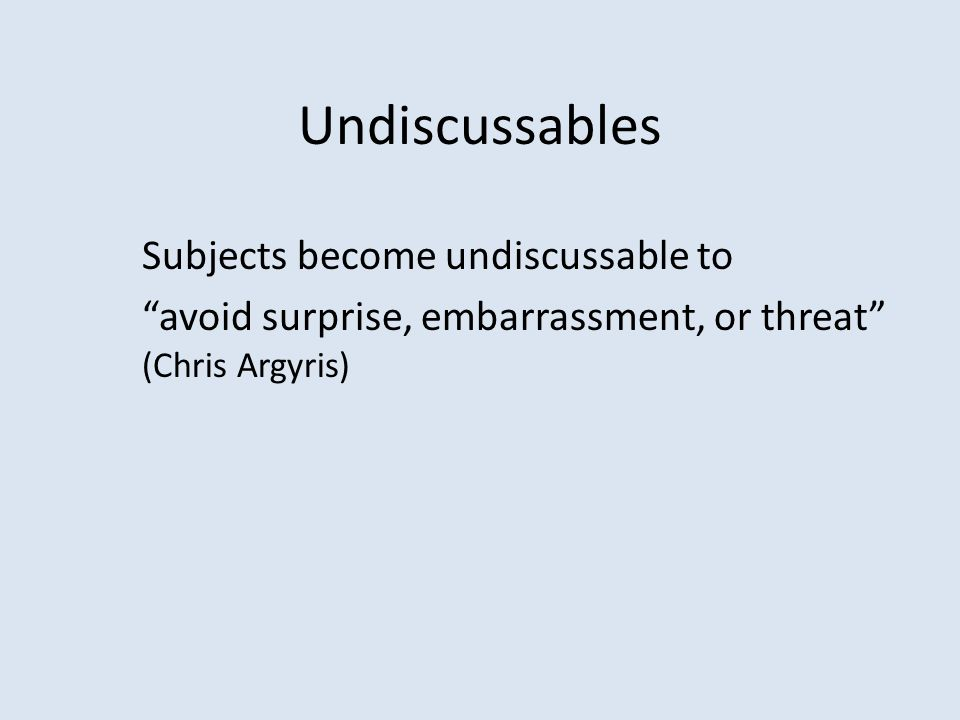 "Undiscussables Subjects become undiscussable to ""avoid surprise, embarrassment, or threat"" (Chris Argyris)"
