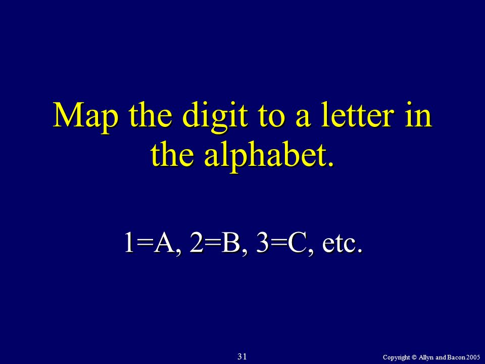 Copyright © Allyn and Bacon 2005 31 Map the digit to a letter in the alphabet. 1=A, 2=B, 3=C, etc.
