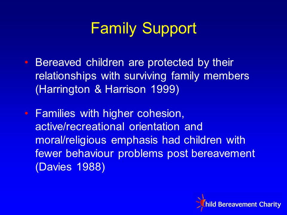 Family Support Bereaved children are protected by their relationships with surviving family members (Harrington & Harrison 1999) Families with higher cohesion, active/recreational orientation and moral/religious emphasis had children with fewer behaviour problems post bereavement (Davies 1988)