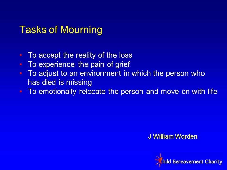 Tasks of Mourning To accept the reality of the loss To experience the pain of grief To adjust to an environment in which the person who has died is missing To emotionally relocate the person and move on with life J William Worden