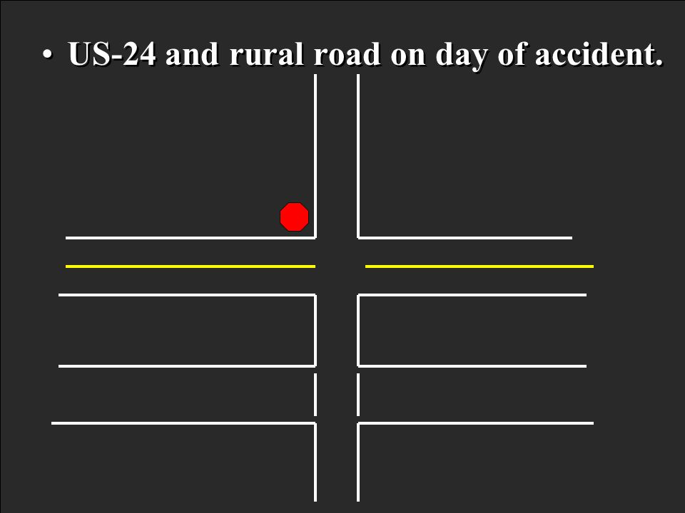 US-24 and rural road on day of accident.