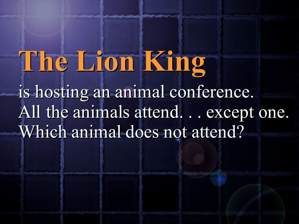The Lion King is hosting an animal conference.All the animals attend...