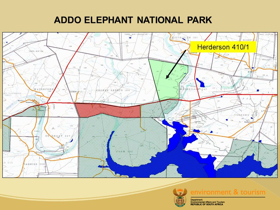 Approval is requested for the withdrawal of the remainder of portion 1 of the farm Henderson 410, in extent 706.52 hectares (the northern section) from the Addo Elephant National Park.