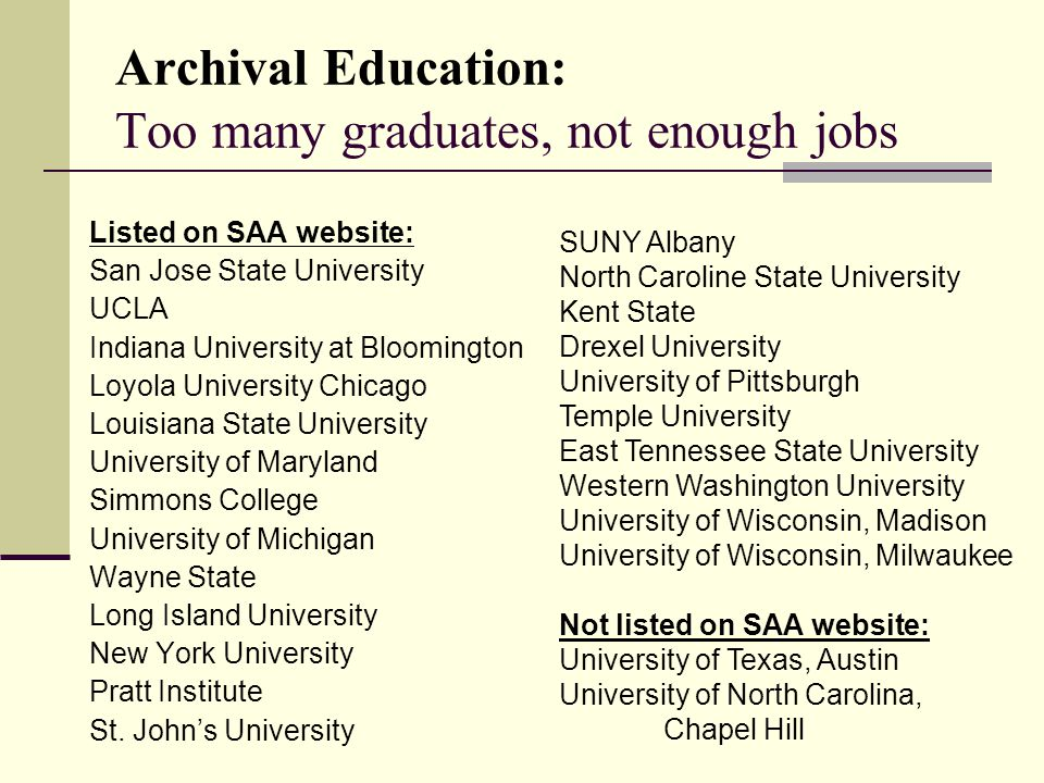 Archival Education: Too many graduates, not enough jobs Listed on SAA website: San Jose State University UCLA Indiana University at Bloomington Loyola