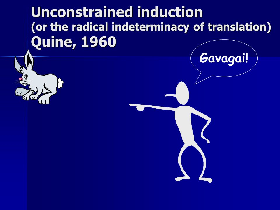 Gavagai! Unconstrained induction (or the radical indeterminacy of translation) Quine, 1960