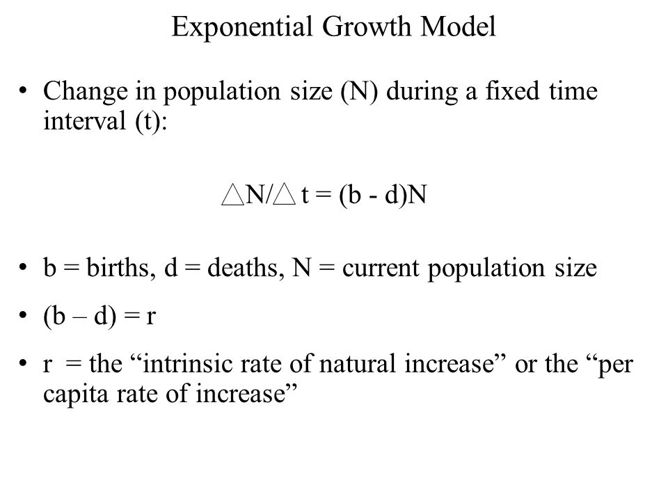 The exponential growth model describes the increase in population size of a population that is not constrained by resources or space.