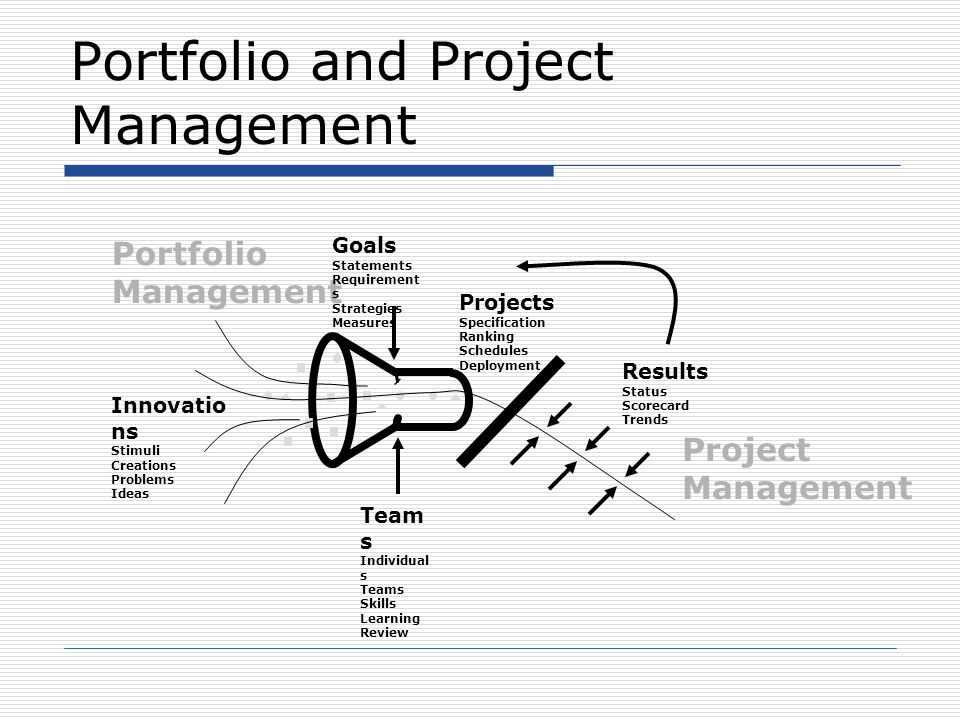 Portfolio and Project Management Portfolio Management Project Management Team s Individual s Teams Skills Learning Review Goals Statements Requirement s Strategies Measures Results Status Scorecard Trends Innovatio ns Stimuli Creations Problems Ideas Projects Specification Ranking Schedules Deployment