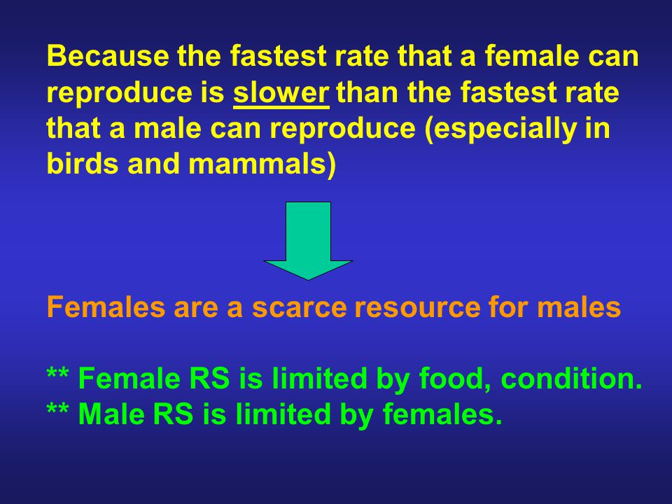 Maximum number of offspring produced during lifetime: Male Female Elephant seal 100 8 Red deer 24 14 Human >2000 30