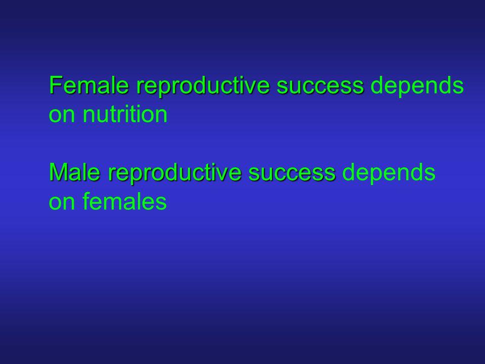 Female reproductive success Female reproductive success depends on nutrition Male reproductive success Male reproductive success depends on females