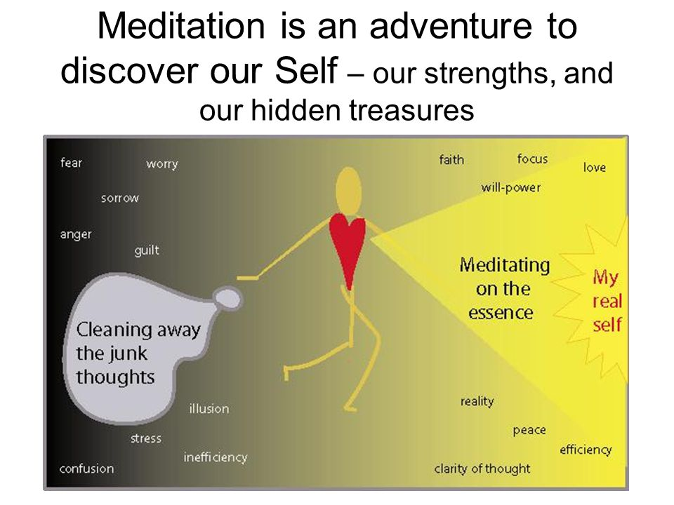 Meditation is an adventure to discover our Self – our strengths, and our hidden treasures