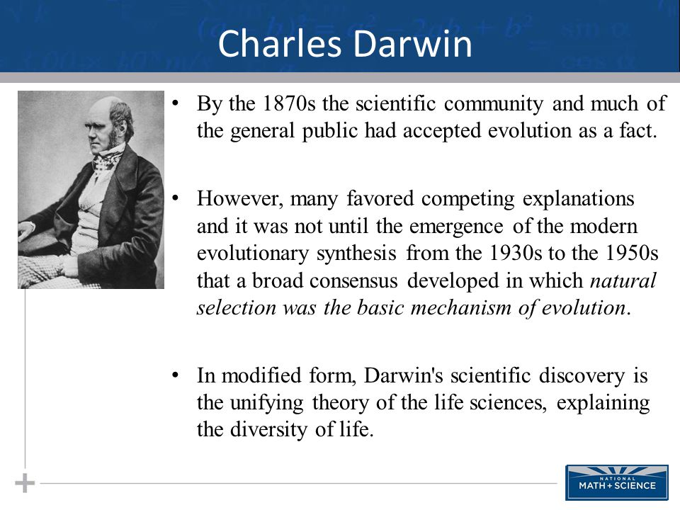 Darwin's Observations Populations change over time as evidenced by the fossil record.