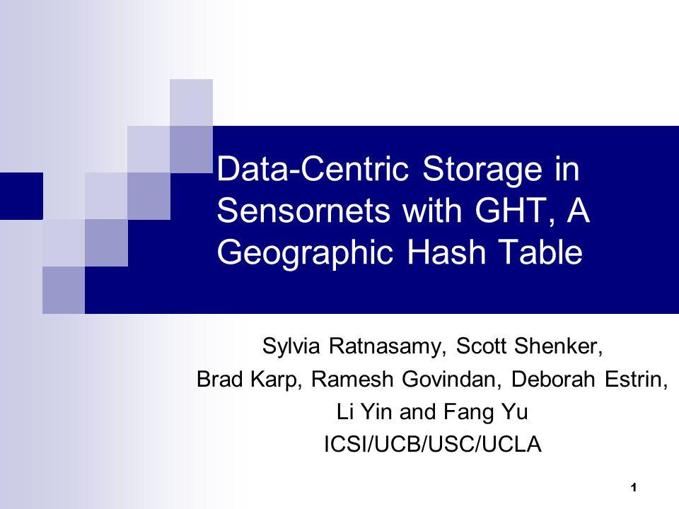 1 Data-Centric Storage in Sensornets with GHT, A Geographic Hash Table Sylvia Ratnasamy, Scott Shenker, Brad Karp, Ramesh Govindan, Deborah Estrin, Li Yin and Fang Yu ICSI/UCB/USC/UCLA