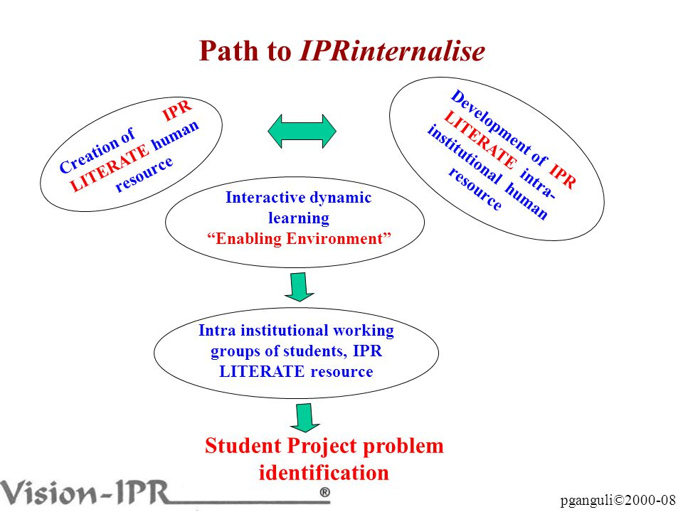 pganguli©2000-08 Path to IPRinternalise Student Project problem identification Creation of IPR LITERATE human resource Development of IPR LITERATE intra- institutional human resource Interactive dynamic learning Enabling Environment Intra institutional working groups of students, IPR LITERATE resource