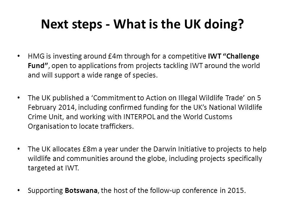 Next steps - What is the UK doing.