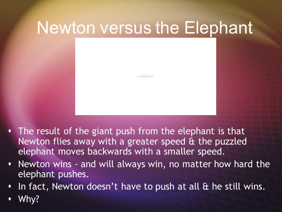 Newton versus the Elephant  Imagine a skateboard contest between Newton & an elephant.  They can only push against each other, not against the groun