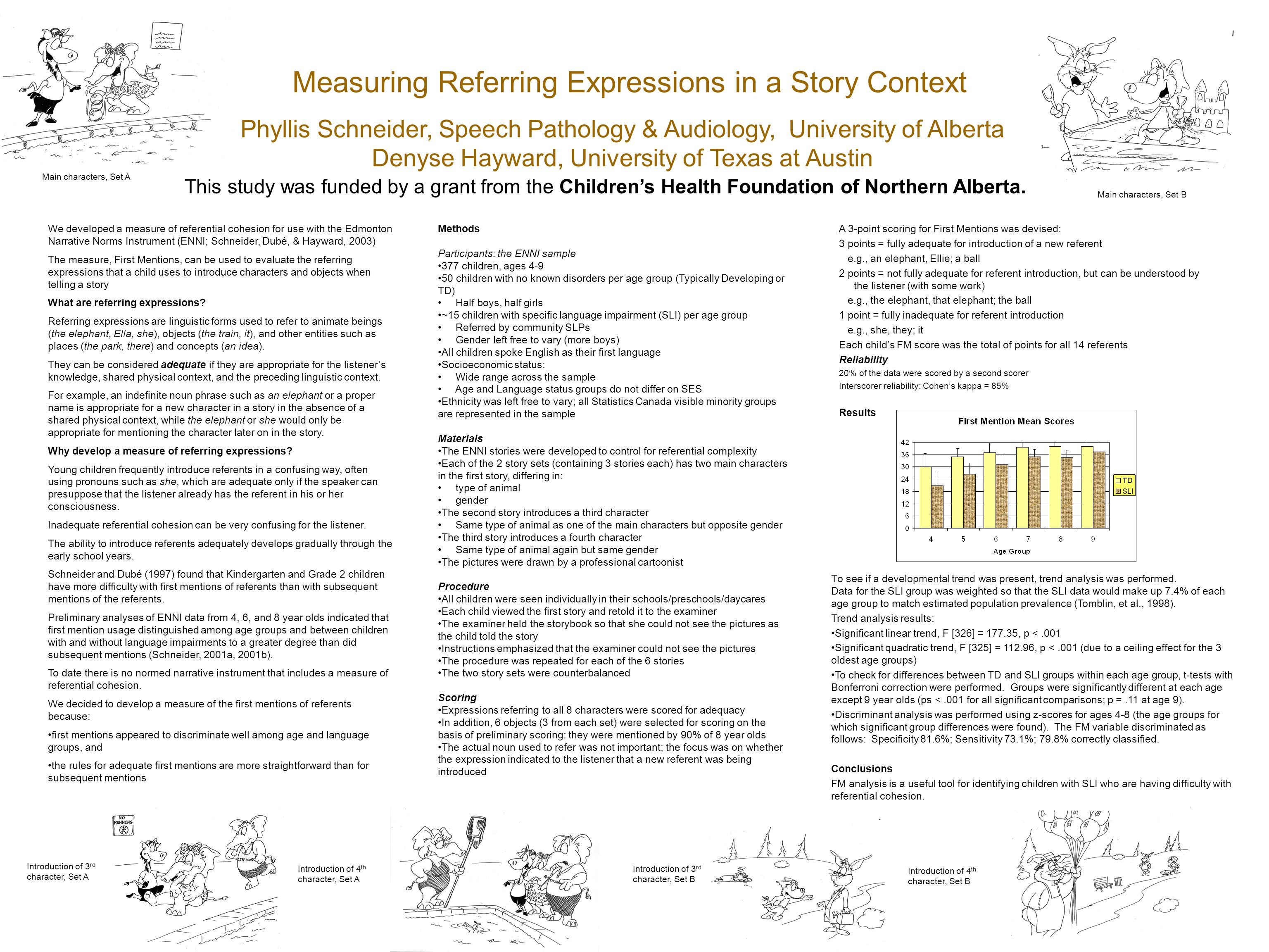 Measuring Referring Expressions in a Story Context Phyllis Schneider, Speech Pathology & Audiology, University of Alberta Denyse Hayward, University o