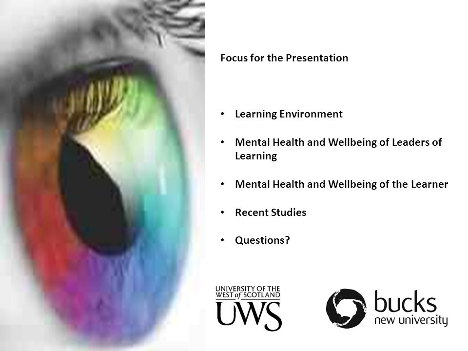 Focus for the Presentation Learning Environment Mental Health and Wellbeing of Leaders of Learning Mental Health and Wellbeing of the Learner Recent Studies Questions