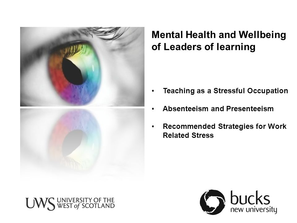 Mental Health and Wellbeing of Leaders of learning Teaching as a Stressful Occupation Absenteeism and Presenteeism Recommended Strategies for Work Related Stress