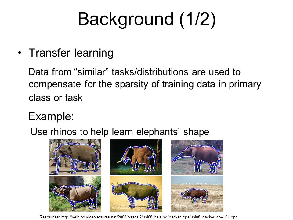 Background (1/2) Transfer learning Data from similar tasks/distributions are used to compensate for the sparsity of training data in primary class or task Example: Use rhinos to help learn elephants' shape Resources: http://velblod.videolectures.net/2008/pascal2/uai08_helsinki/packer_cpe/uai08_packer_cpe_01.ppt
