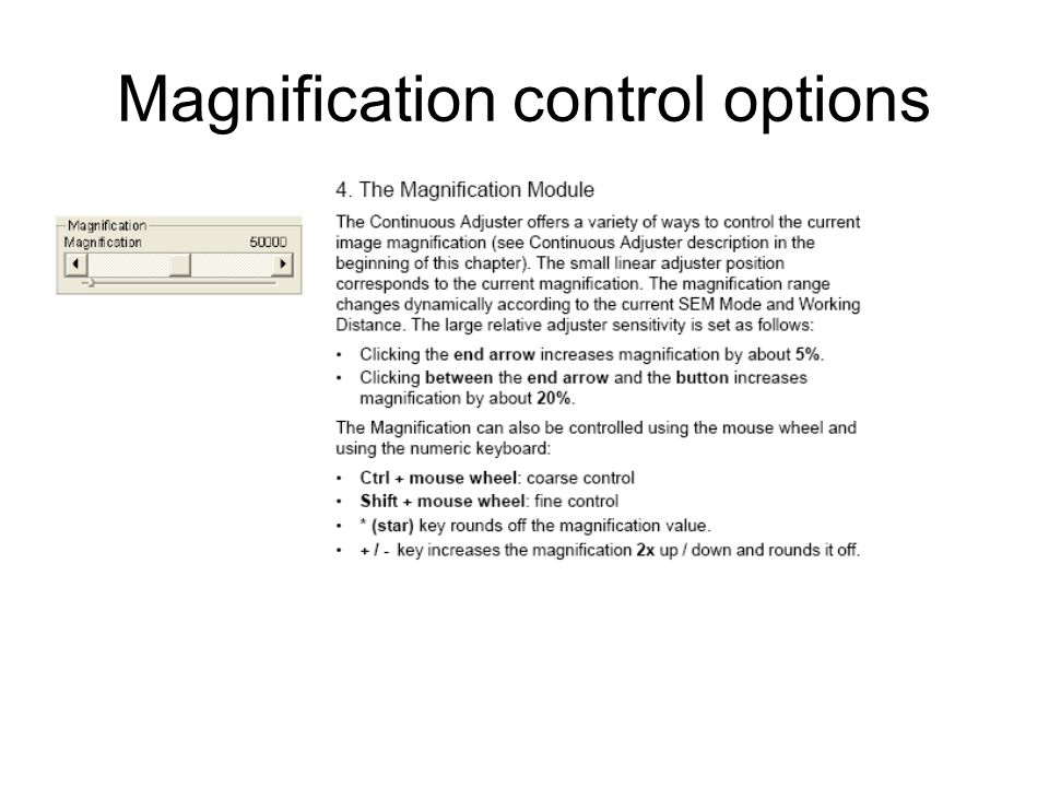 Magnification control options