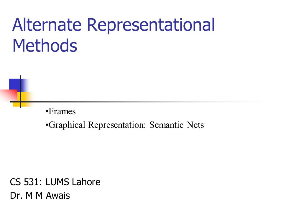 Alternate Representational Methods CS 531: LUMS Lahore Dr.