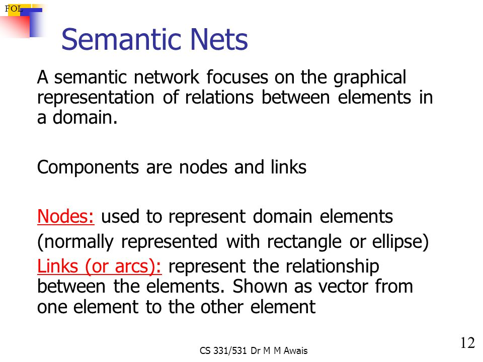 12 FOL CS 331/531 Dr M M Awais Semantic Nets A semantic network focuses on the graphical representation of relations between elements in a domain.