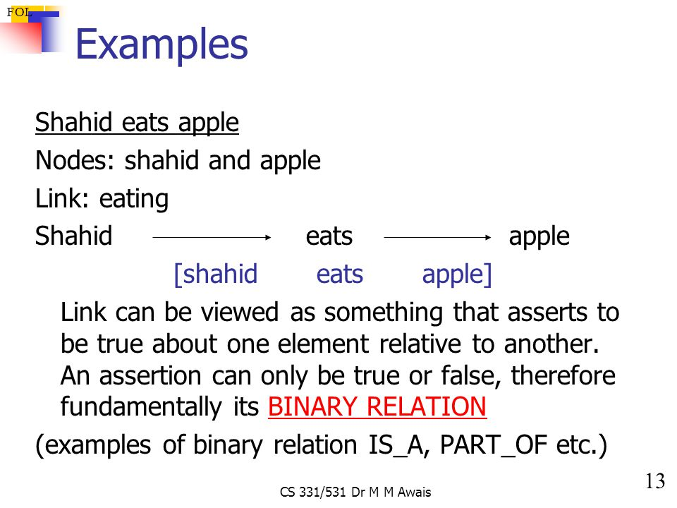 13 FOL CS 331/531 Dr M M Awais Examples Shahid eats apple Nodes: shahid and apple Link: eating Shahideatsapple [shahid eats apple] Link can be viewed as something that asserts to be true about one element relative to another.