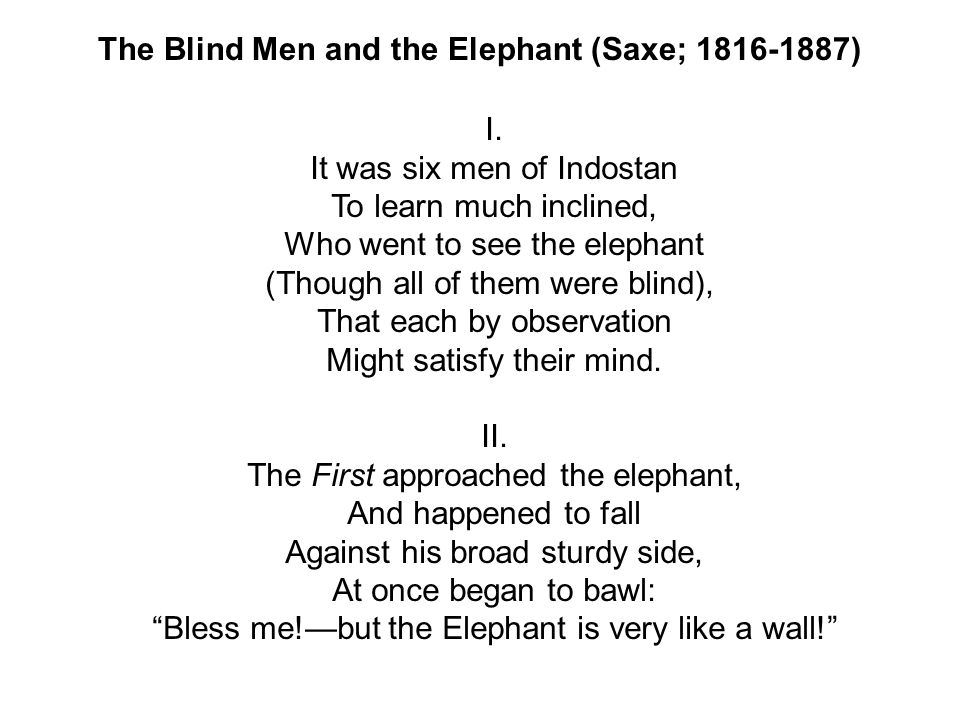 The Blind Men and the Elephant (Saxe; 1816-1887) I.