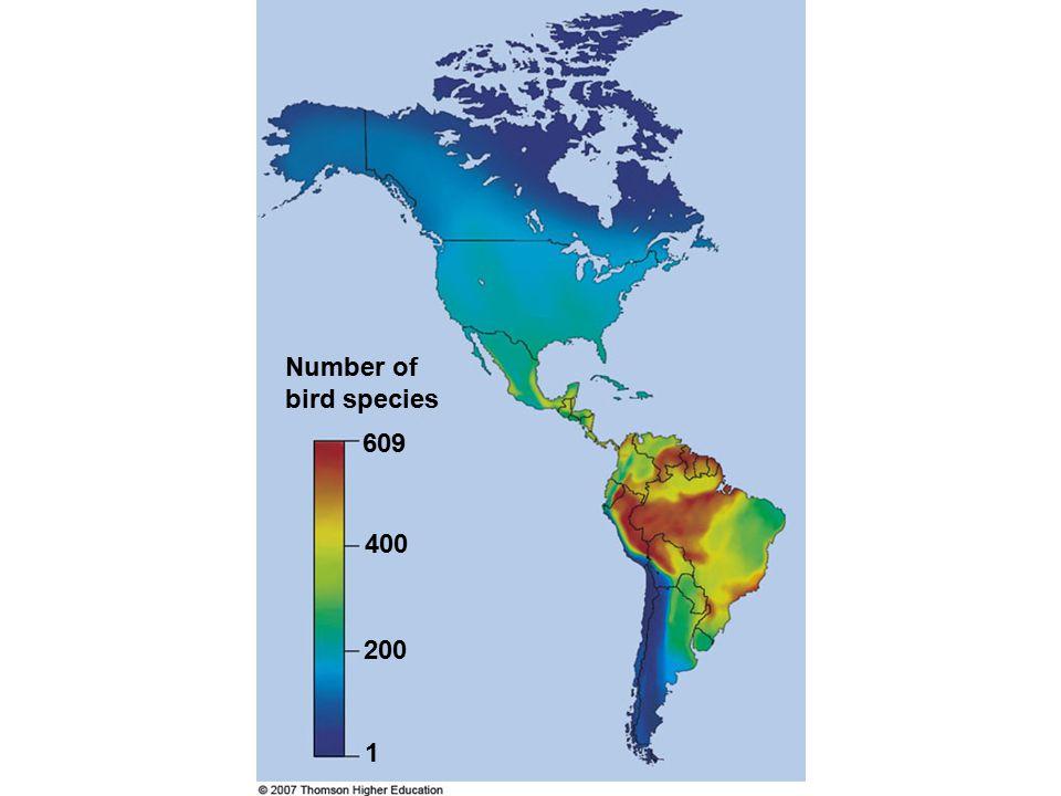1 609 Number of bird species 400 200