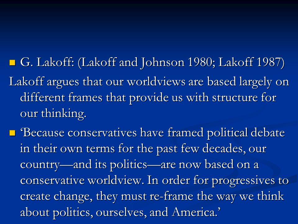 G. Lakoff: (Lakoff and Johnson 1980; Lakoff 1987) G.