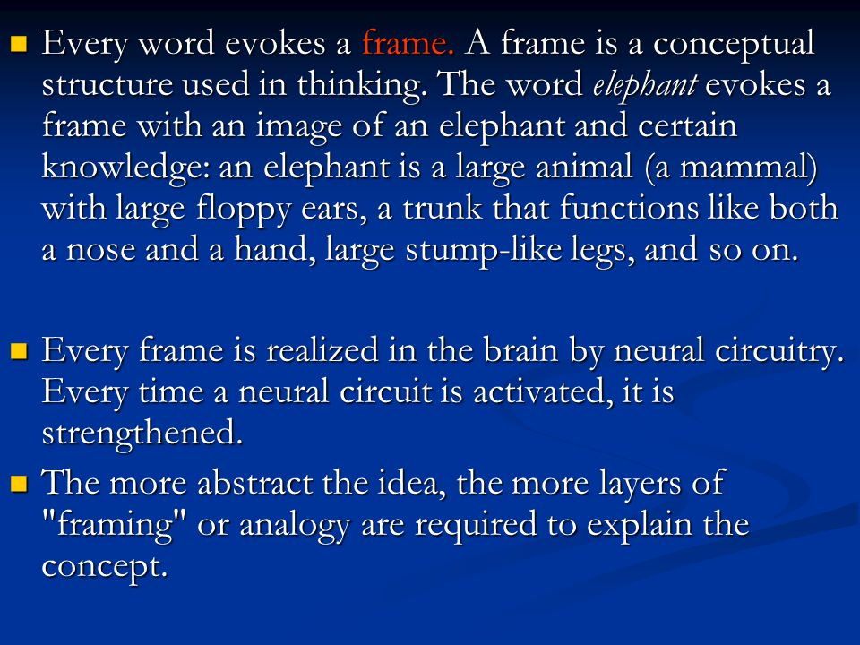 Every word evokes a frame. A frame is a conceptual structure used in thinking.