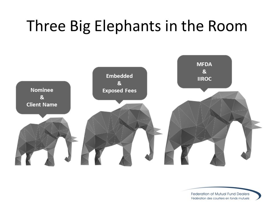 Three Big Elephants in the Room Nominee & Client Name Embedded & Exposed Fees MFDA & IIROC