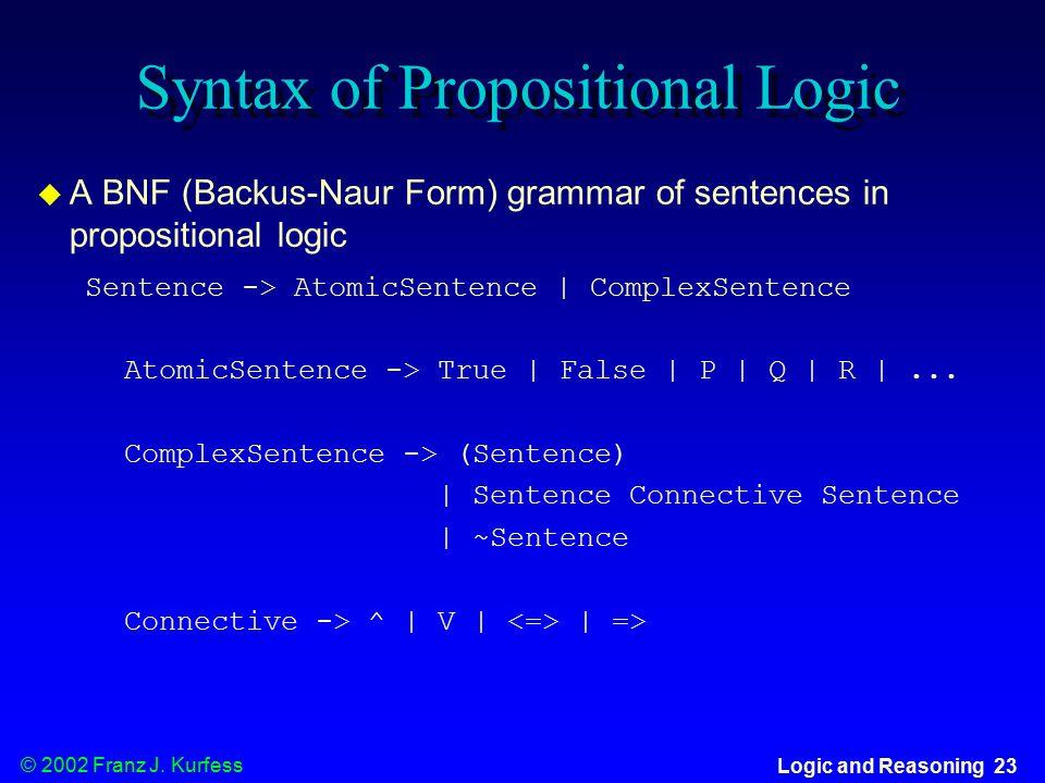 © 2002 Franz J. Kurfess Logic and Reasoning 23 Syntax of Propositional Logic  A BNF (Backus-Naur Form) grammar of sentences in propositional logic Se