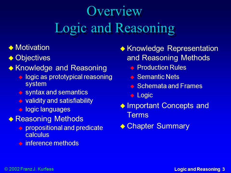 © 2002 Franz J. Kurfess Logic and Reasoning 54 Metaknowledge
