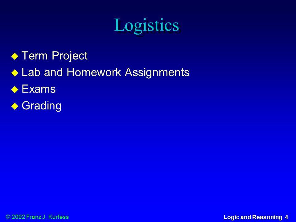 © 2002 Franz J. Kurfess Logic and Reasoning 55 Post-Test