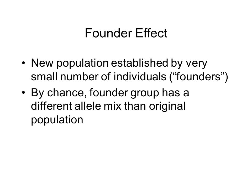 Founder Effect New population established by very small number of individuals ( founders ) By chance, founder group has a different allele mix than original population