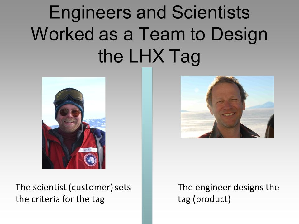 Engineers and Scientists Worked as a Team to Design the LHX Tag The scientist (customer) sets the criteria for the tag The engineer designs the tag (product)