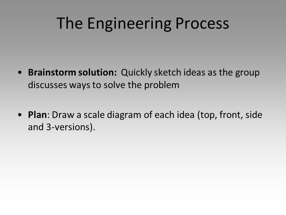 The Engineering Process Brainstorm solution: Quickly sketch ideas as the group discusses ways to solve the problem Plan: Draw a scale diagram of each idea (top, front, side and 3-versions).