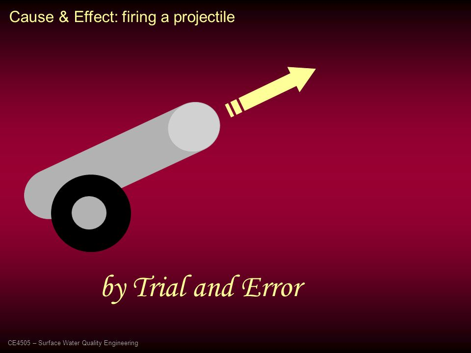 Cause & Effect: firing a projectile by Trial and Error CE4505 – Surface Water Quality Engineering