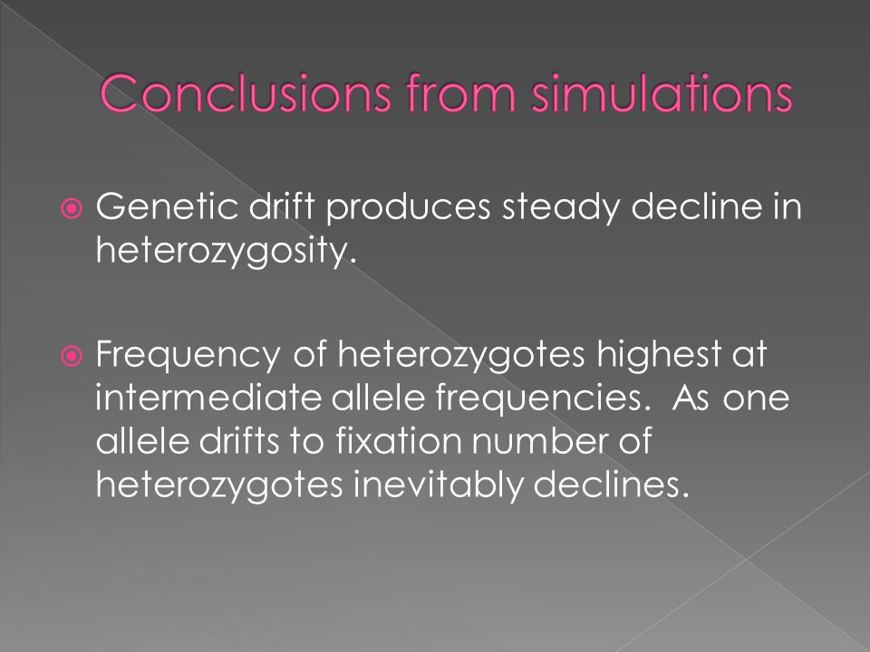  Genetic drift produces steady decline in heterozygosity.  Frequency of heterozygotes highest at intermediate allele frequencies. As one allele drif